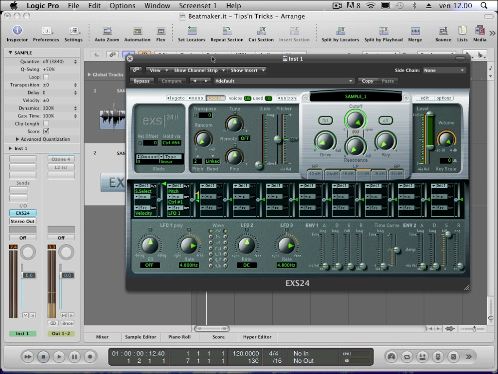 Come campionare un suono o un sample con Exs24 in Logic